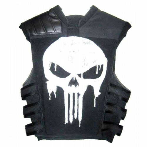 Thomas Jane Punisher War Tactical Black Real Leather /& Cotton Biker Vest Jacket