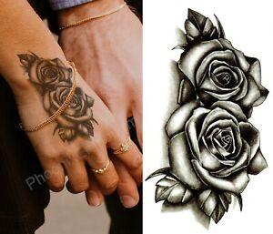 Temporary Tattoo Black Double Rose Fake Body Art Sticker Waterproof Ladies Mens Ebay