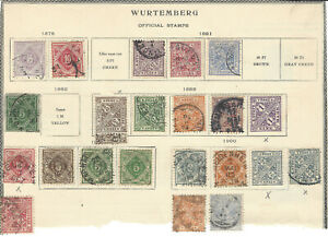1875-1900 WURTTEMBERG STAMP LOT ON PARTIAL ALBUM PAGE