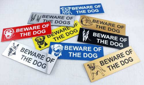 BEWARE OF THE DOG ENGRAVED SIGN 145MM X 45MM