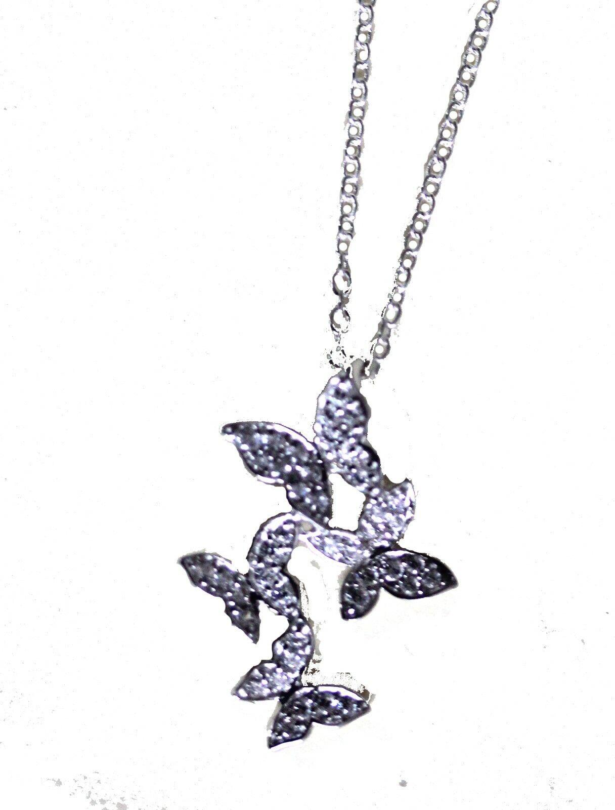 argentoo Sterling quattro Collana con ciondolo a farfalla con con con pietre CZ (1970) a17b28