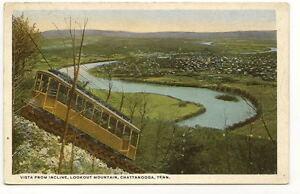 CHATTANOOGA-TN-Incline-RR-Car-Aerial-Vista-Vtg-Postcard