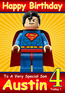 Personalised birthday card 1 superman lego any nameagerelatve ebay image is loading personalised birthday card 1 039 superman lego 039 bookmarktalkfo Image collections