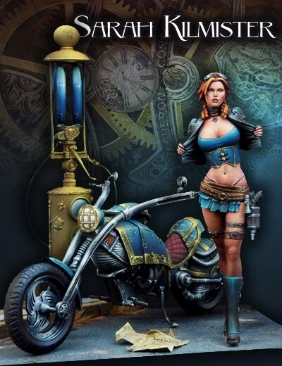 Scale 75 Sarah Kilmister + motorbike Steam punk 75mm Metal Unpainted Kit