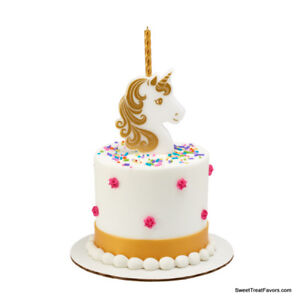 UNICORN-CAKE-Topper-Party-CANDLE-Birthday-Decoration-Top-Favors-Gold-Horse-4PCS