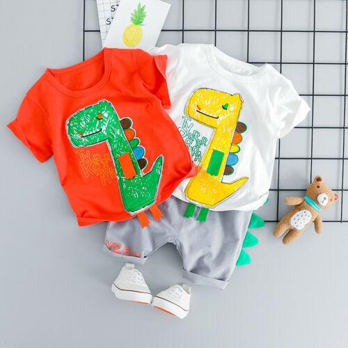 Bébé Enfants Garçon Dinosaure Tops T-shirt patchwork Court Pantalon Décontracté Tenue U