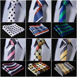 Stripe-Dots-2-17-034-Silk-Wedding-Slim-Narrow-Men-Tie-Necktie-Handkerchief-Set-M1