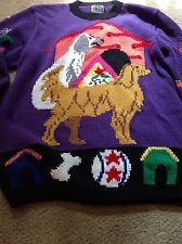 berek hand made heavy pullover sweater Dog theme size M