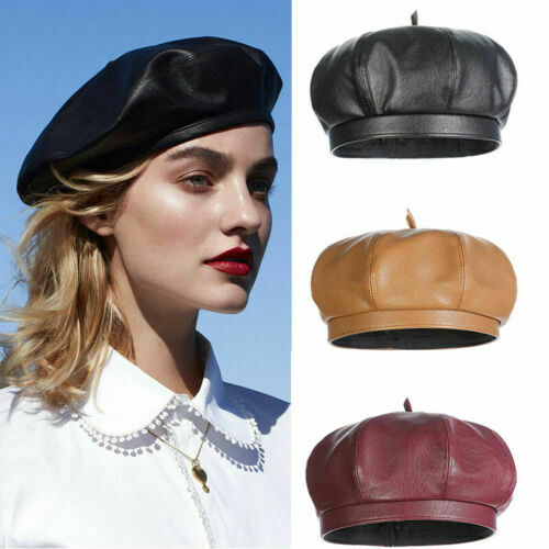 Women/'s Faux Leather Beret Solid Plain Flat Top PU Berets Hats French Style Cap