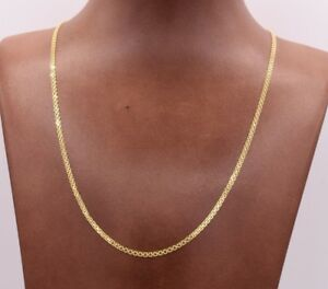 2mm-Bismark-Bizmark-Chain-Necklace-14K-Yellow-Gold-Clad-Silver-925-ITALY