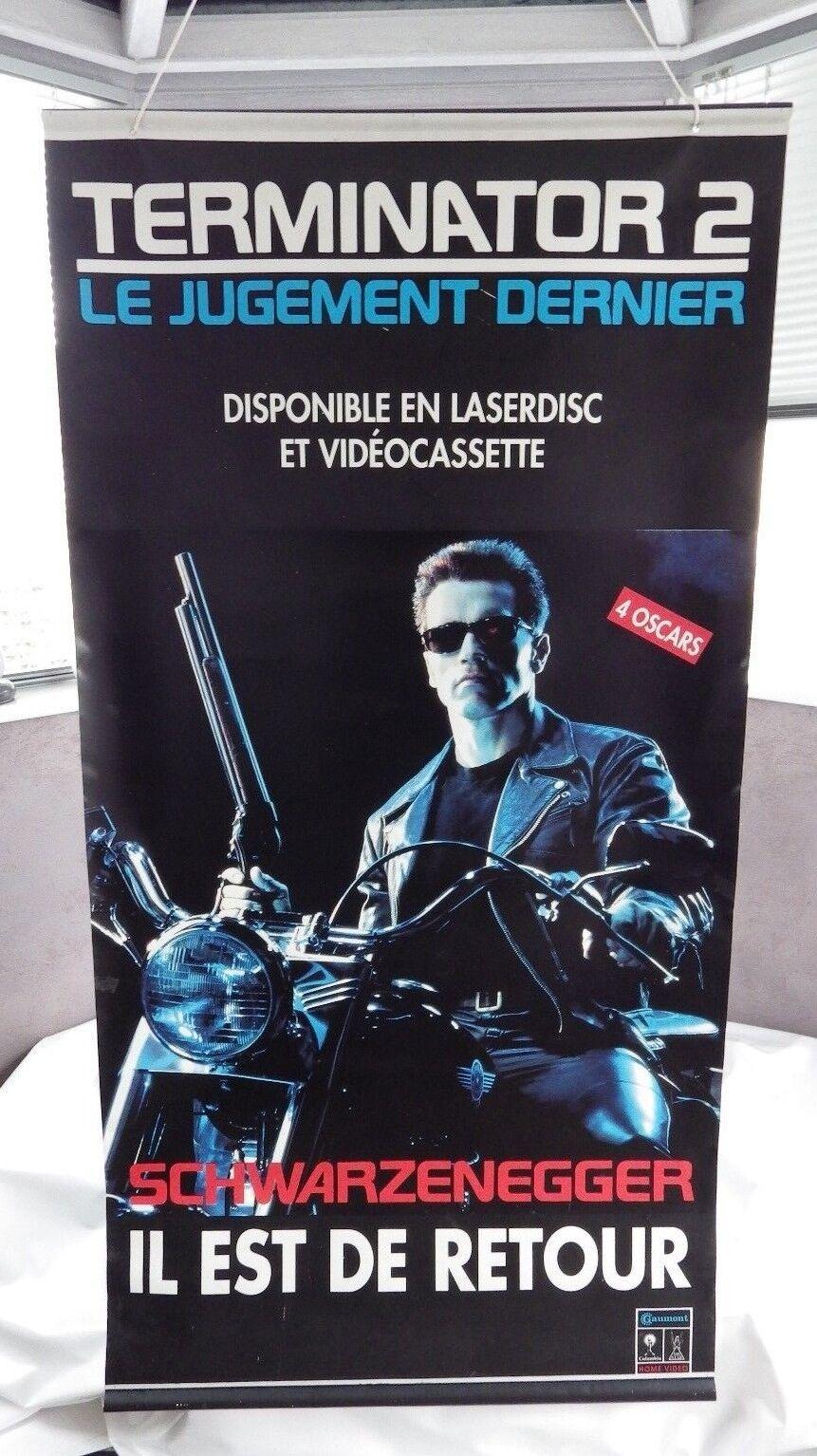 Toile Publicitaire Laserdisc CDV VHS recto v. Terminator 2 Allô maman 200 x 86cm