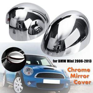 Left-Right-Chrome-Door-Wing-Mirror-Cap-Cover-Plastic-For-BMW-Mini-Cooper-06-13