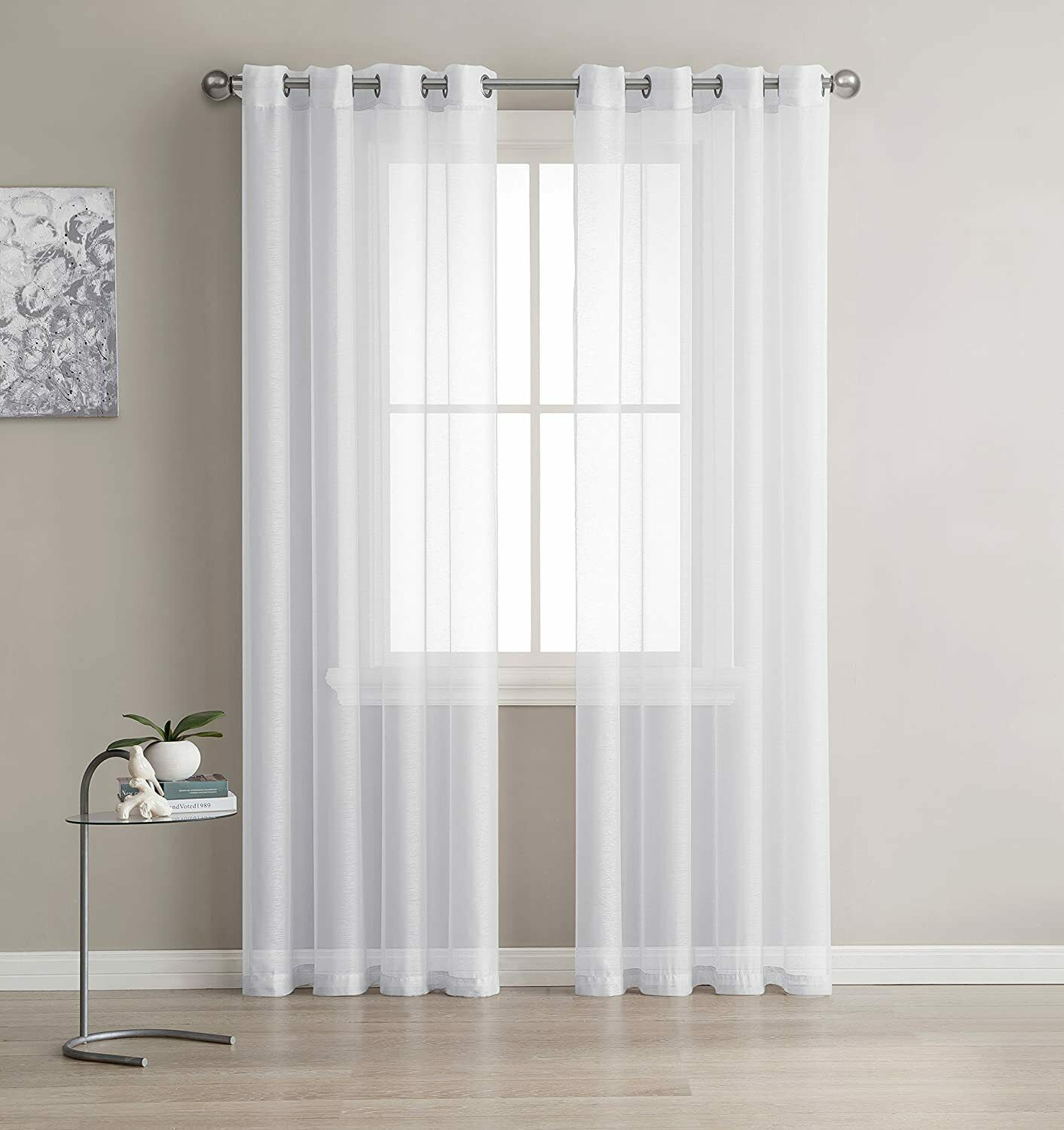 Grommet Semi Sheer Curtains 2 Pieces Total Size 108 Inch Wide 54 Inch Each For Sale Online Ebay