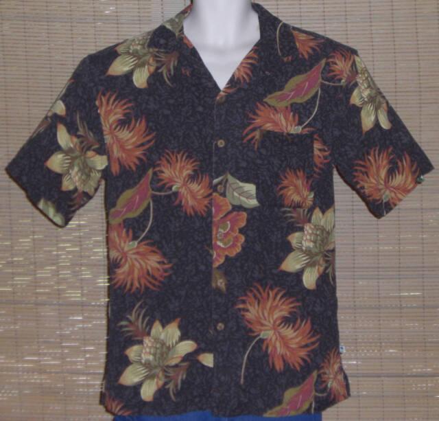 Island Shores Hawaiian Shirt Black Gray Orange Burgundy Olive Floral Size Medium