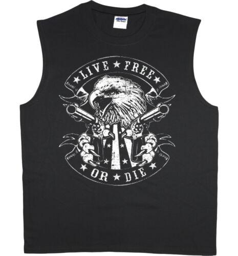 Men/'s sleeveless shirt live free or die 2nd amendment muscle tee tank top