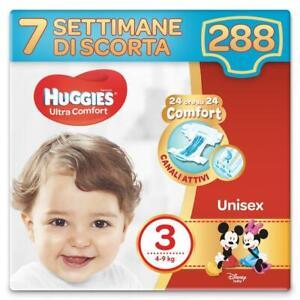 Huggies Pannolini Ultra Comfort Taglia 3 Maxi Confezione da 288 Pannolini (7 Set