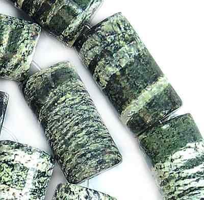 "10x18mm Natural Green Striated Zrbra Column Beads 16"""