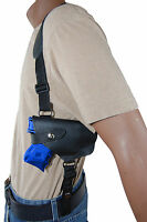 Barsony Black Leather Horizontal Shoulder Holster For S&w M&p Shield W/laser