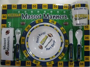 Michigan-University-Baby-Dinnerware-set-with-Plates-Utensils-Cup-Placemat