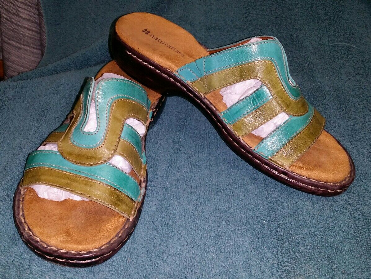 NATURALIZER TEAL SANDALS GREEN LEATHER SANDALS TEAL WOMENS SIZE 7.5 869c73