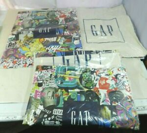 5-X-GAP-Tote-Bag-Graphic-Front-Logo-Cotton-Muslin-Shopping-Bag-Sack-Pack-NEW