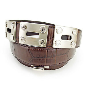 37721493e20b Image is loading Gianni-Versace-belt-Brown-Silver-Woman-unisex-Authentic-
