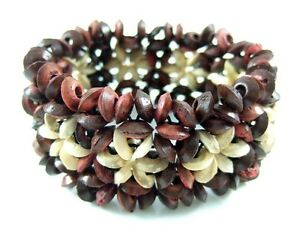 1f0ff1a9be6 Image is loading Flower-Pattern-Coconut-Wood-Beads-Stretch-Cuff-Bracelet-