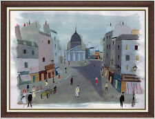 Charles Levier Large Original Paris France Cityscape Gouache Painting Signed Art