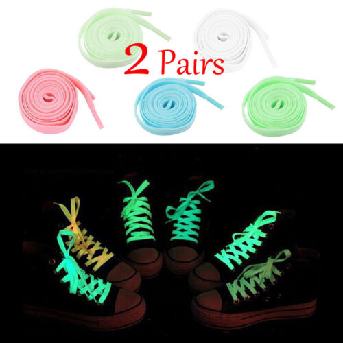 1.2m 2 pairs Fashion Fluorescence Noctilucent Shoelaces Shoestring Glow Stick