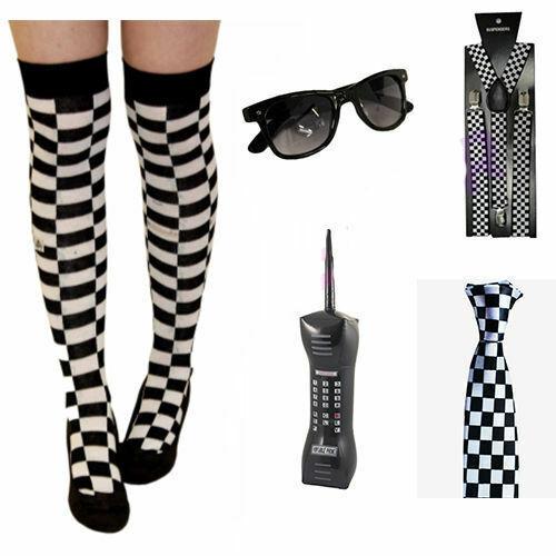Adulte Police Madness Fancy Dress Party Carreaux Bretelles Cravate Téléphone Lunettes OTK Socks