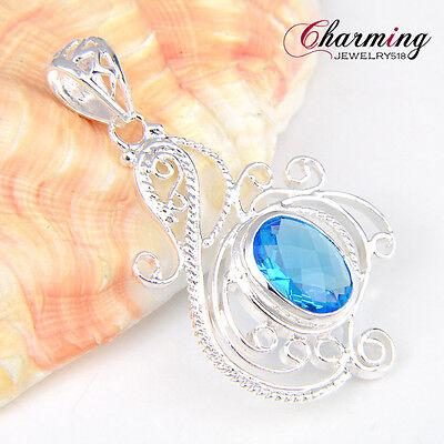 "Beautiful Oval Ocean Star Blue Topaz Gemstone Silver Necklace Pendant 2 1/2 """