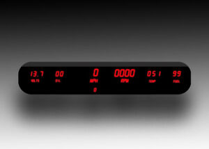 6-Gauge-Universal-Digital-Dash-Panel-RED-LEDs-w-tach-and-two-way-mirror-plexi