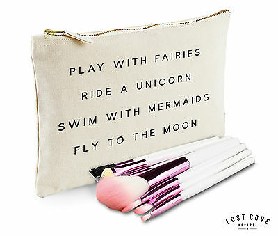 Play With Fairies Ride A Unicorn Swim Mermaids Makeup Bag Case Make Up Clutch