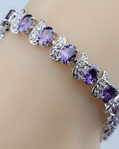 Purple-Amethyst-White-Topaz-Flanked-Tennis-Sterling-Silver-Gemstone-Bracelet