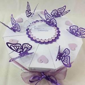 Schachteltorte Schmetterlinge Weiss Lila Geldgeschenk Torte