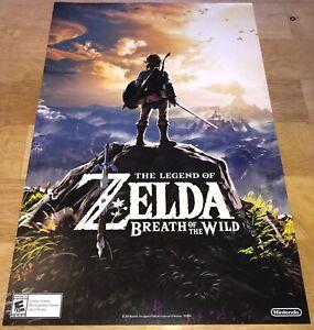 """NEW Legend ZELDA Breath of Wild Launch POSTER 10x17"""" GameStop Nintendo 2017 RARE"""