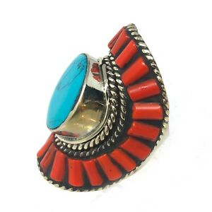 Coral-Turquoise-Ring-9-Tibetan-Handmade-Ethnic-Tribal-Gypsy-Tibet-Nepal-RG04a