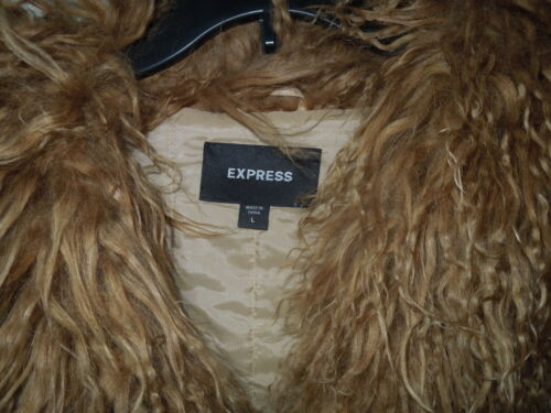 Large Suede mongolian Express Lamb Size Collar Jacket Cuffs Tan Vintage amp; W fqwP6BwO