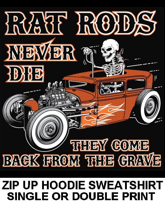 OLD SCHOOL OUTLAW MUSCLE RAT HOT ROD RACE BLOWER CAR SKULL ZIP HOODIE SWEATSHIRT