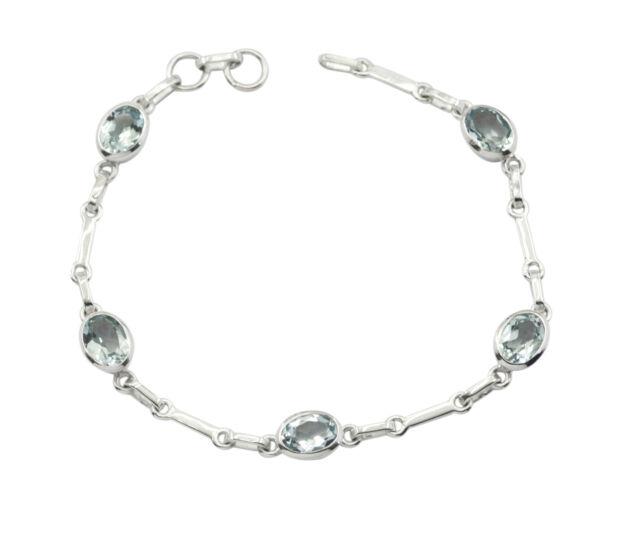 elegant Blue Topaz 925 Solid Sterling Silver Blue Bracelet genuine jewelry US
