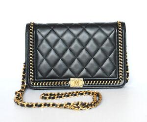 457e4efc118564 Image is loading Chanel-Black-Quilted-Calfskin-Gold-Le-Boy-Wallet-