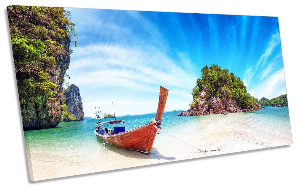 Paradise Beach Thailand Bild PANORAMIC CANVAS Wand Kunst Drucken