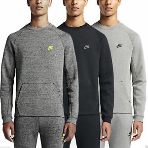 Nike Men s Tech Fleece Crew Cotton Polyester Activewear Pull Over ... 7d0de29f2c0a