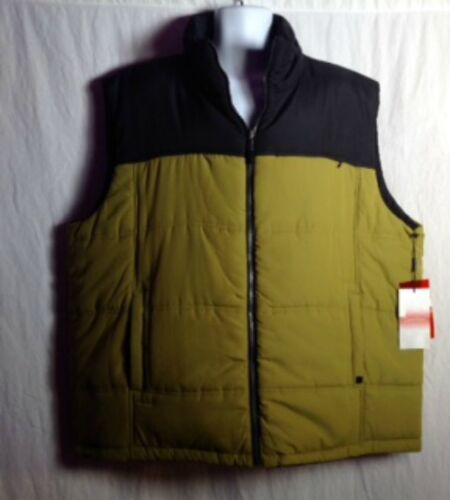 Calvin Klein Men's 2XL Vest - Chartreuse Green & Black Zipped Outdoor Quilted