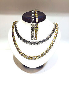 Hugs-and-Kisses-Gold-amp-Two-Tone-Stampato-2-sets-Necklace-18-034-Bracelet-Set