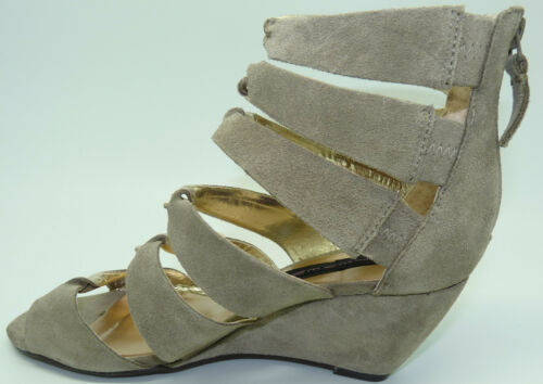 Steven By Steve Madden Gabbey Taupe Suede Strappy Wedge Sandals