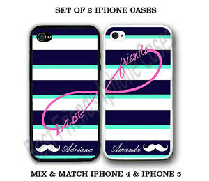Custom Mint Stripe Mustache BFF Best Friends 2 Cases For iPhone 6 6S + 5S 5C 4S