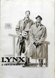 LYNX L'IMPERMEABILE FUORI CLASSE pubblicità anni '40 - Italia - LYNX L'IMPERMEABILE FUORI CLASSE pubblicità anni '40 - Italia