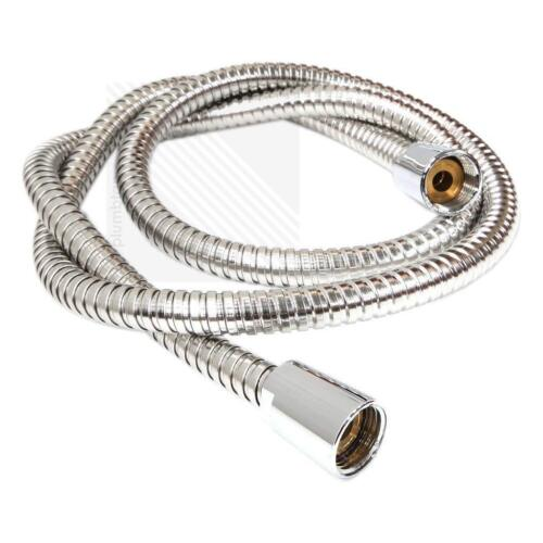 CHROME STAINLESS STEEL BATHROOM SHOWER HEAD HOSE PIPES FLEXIBLE WASHER