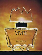 PUBLICITE ADVERTISING 045 1973 MOLYNEUX  'Vivre' parfum